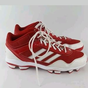 Adidas baseball cleats red white men's 14